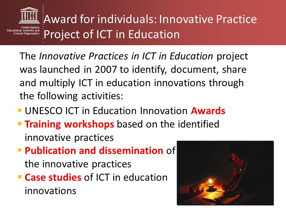 Award for individuals: Innovative Practice Project of ICT in Education