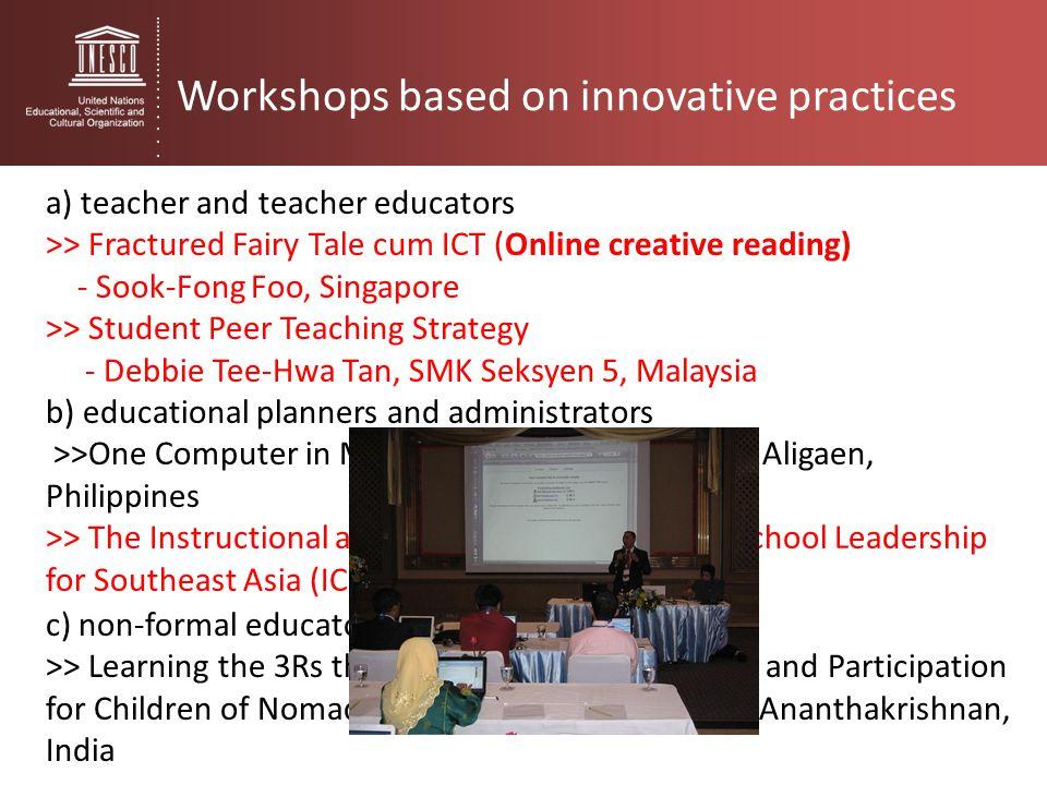 Workshops based on innovative practices