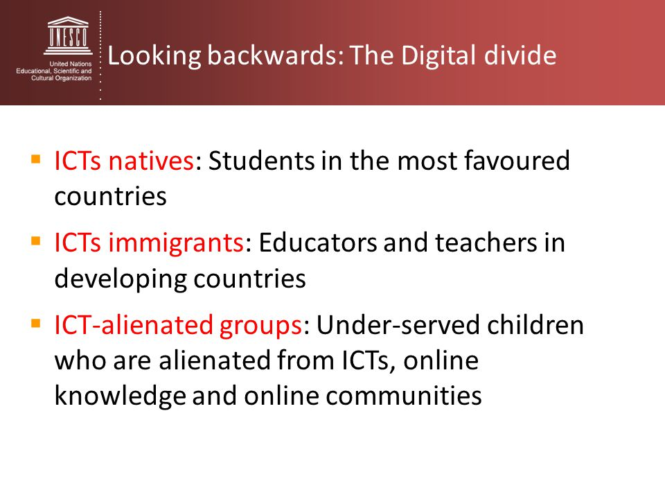 Looking backwards: The Digital divide