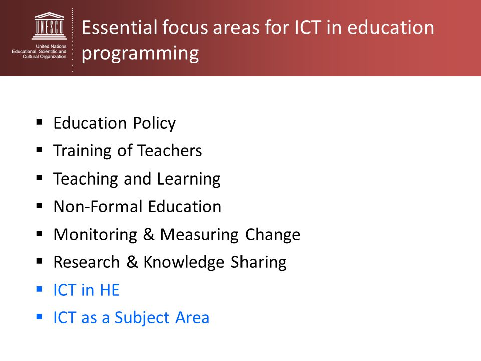 Essential focus areas for ICT in education programming