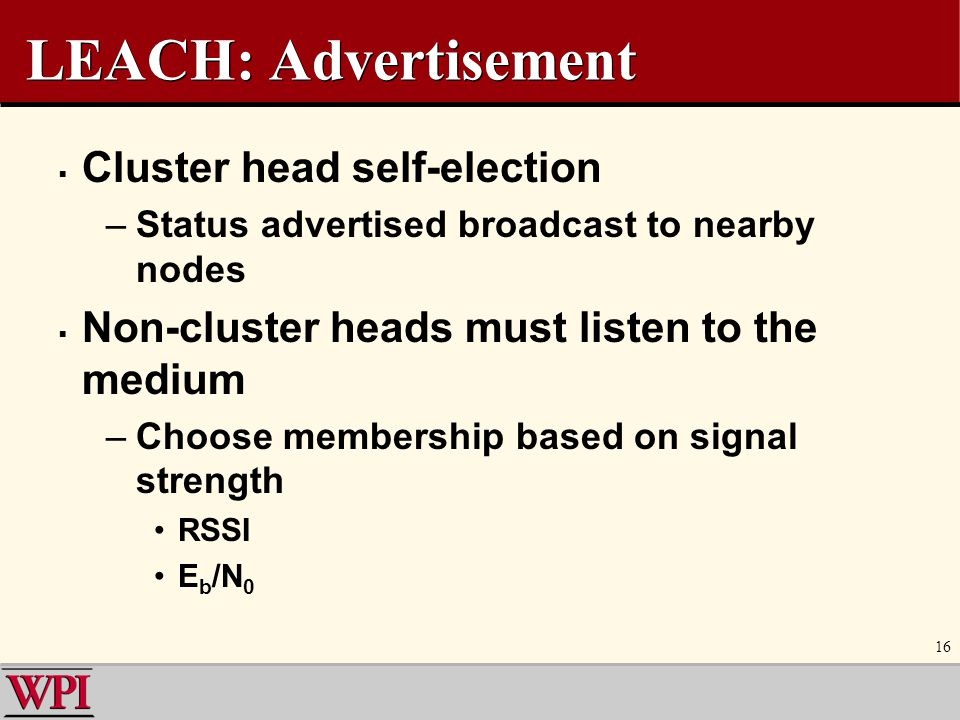 LEACH: Advertisement Cluster head self-election