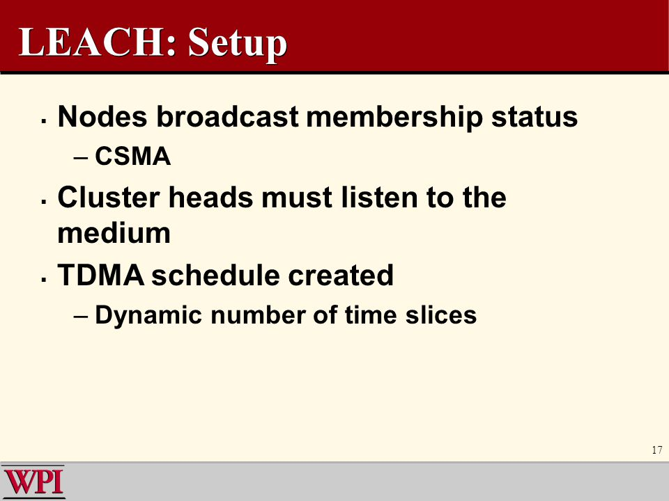 LEACH: Setup Nodes broadcast membership status