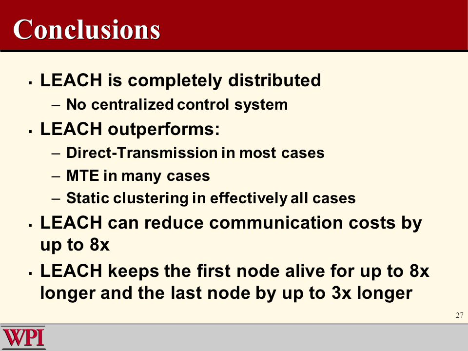 Conclusions LEACH is completely distributed LEACH outperforms: