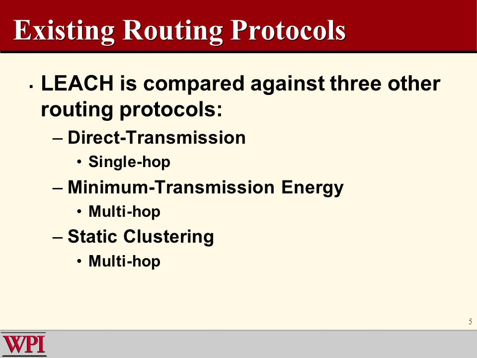 Existing Routing Protocols