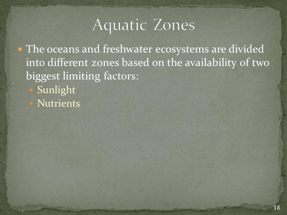 Aquatic Zones The oceans and freshwater ecosystems are divided into different zones based on the availability of two biggest limiting factors: