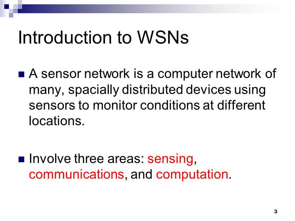 Introduction to WSNs