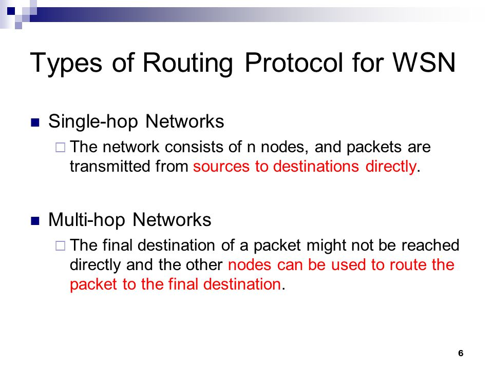 Types of Routing Protocol for WSN