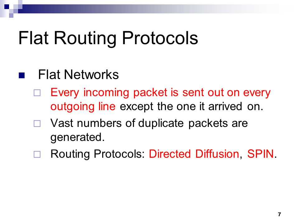 Flat Routing Protocols