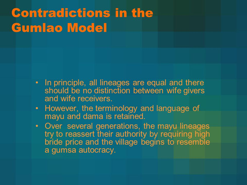 Contradictions in the Gumlao Model