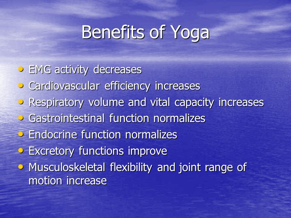 Benefits of Yoga EMG activity decreases