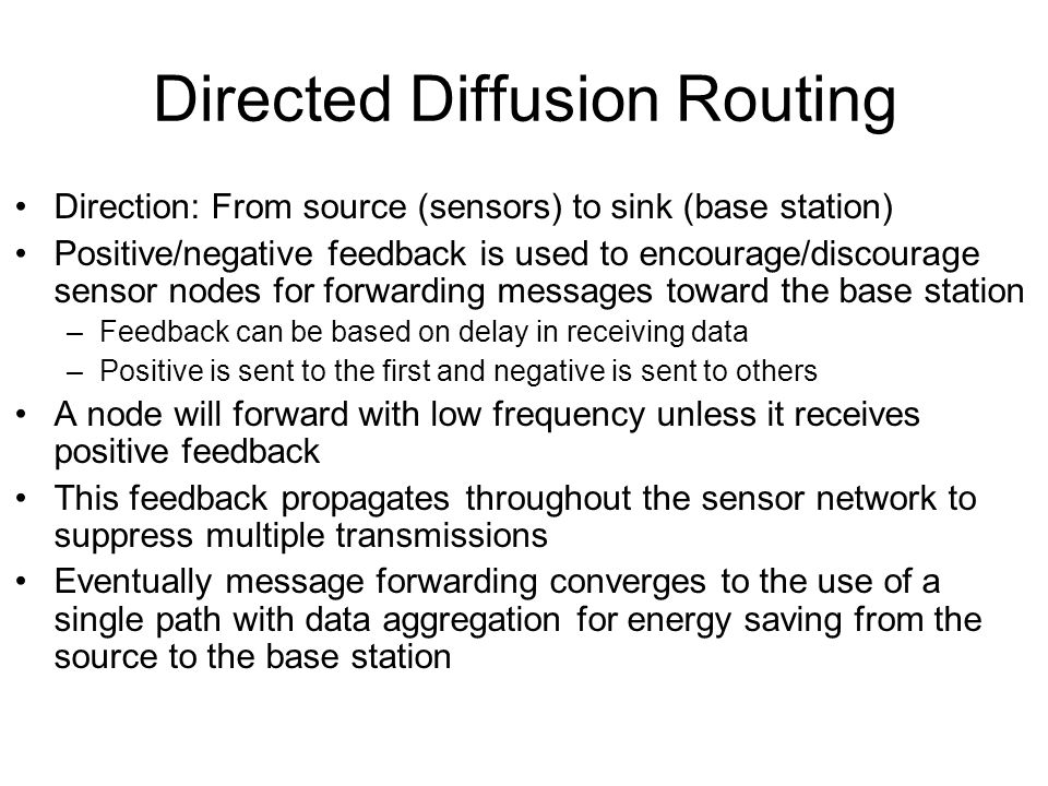 Directed Diffusion Routing