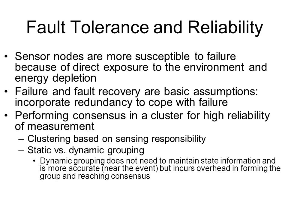 Fault Tolerance and Reliability