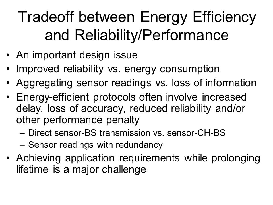 Tradeoff between Energy Efficiency and Reliability/Performance
