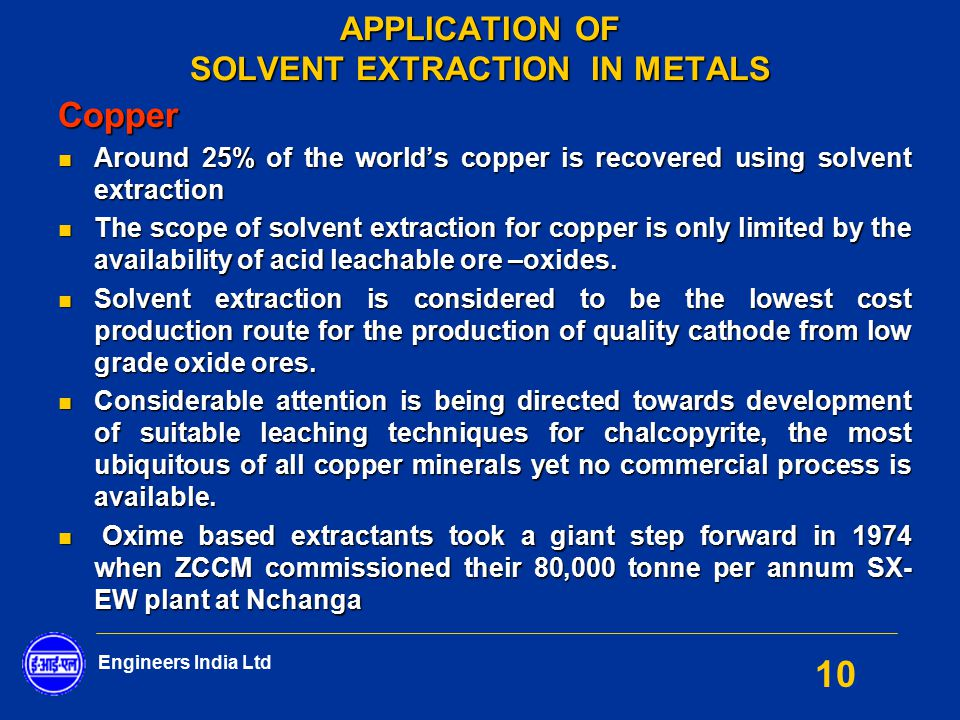 Application Of Solvent Extraction In Metals