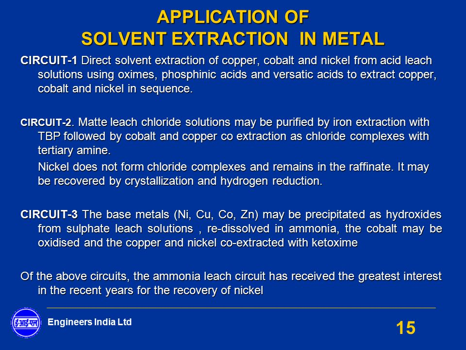 Application Of Solvent Extraction In Metal