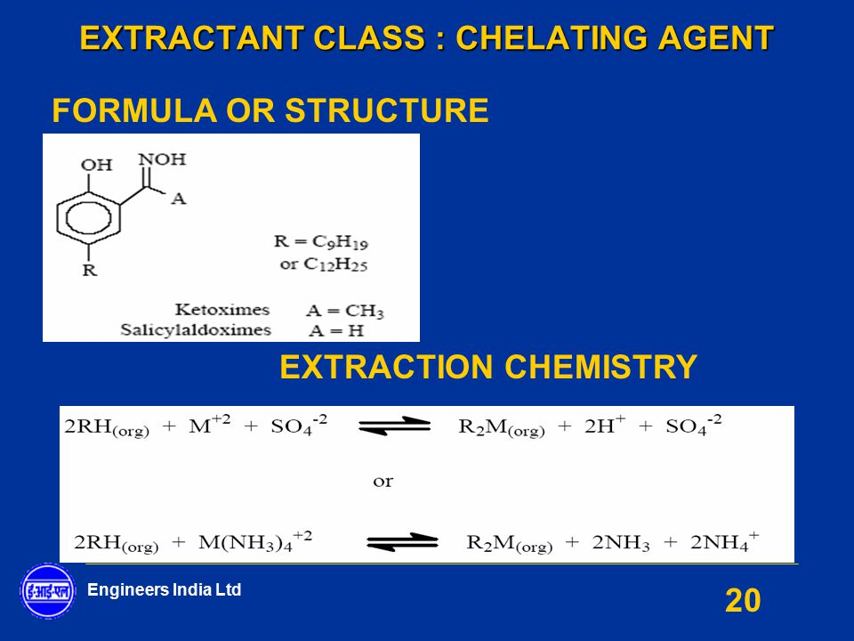 EXTRACTANT CLASS : CHELATING AGENT