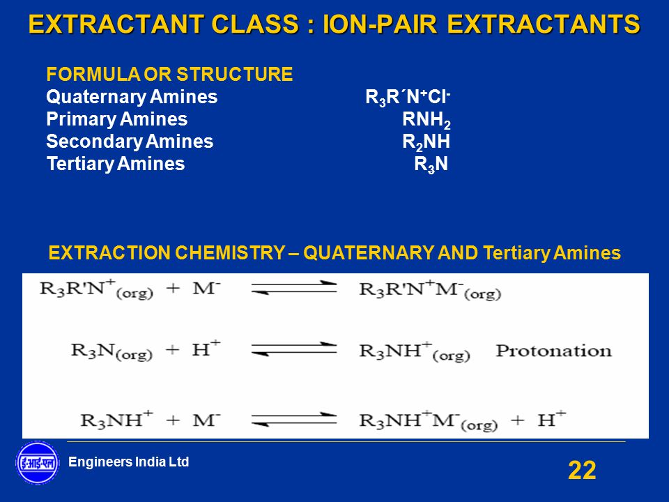 EXTRACTANT CLASS : ION-PAIR EXTRACTANTS