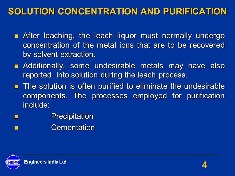 Solution Concentration And Purification