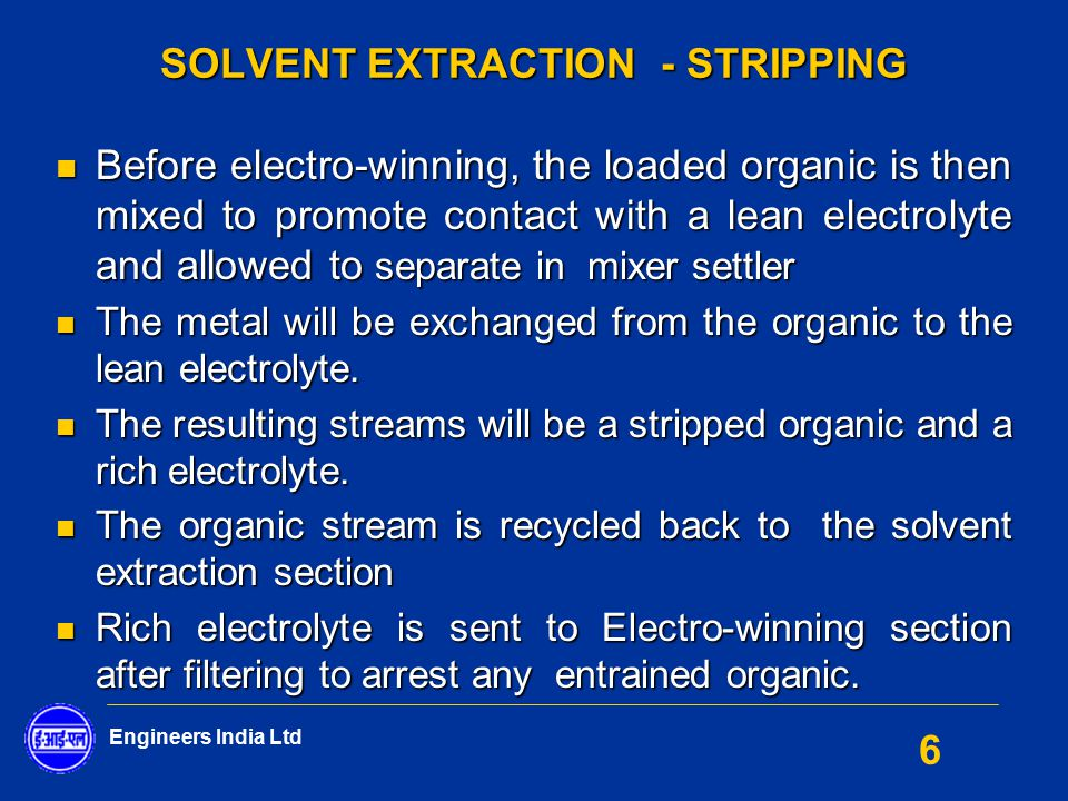 SOLVENT EXTRACTION - STRIPPING