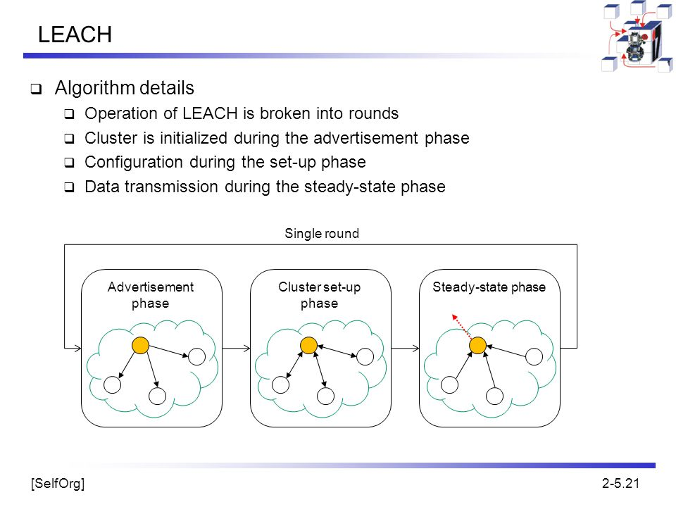LEACH Algorithm details Operation of LEACH is broken into rounds