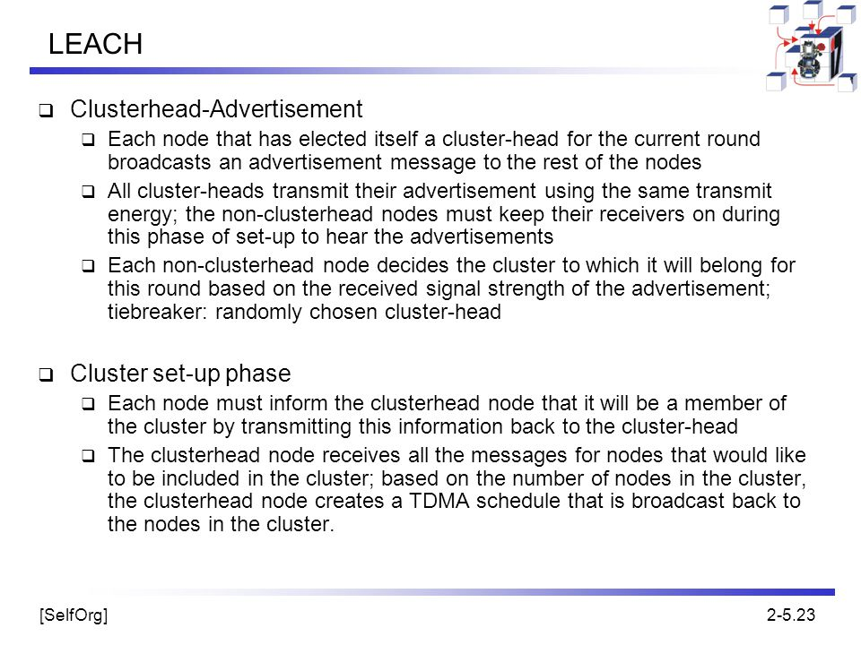 LEACH Clusterhead-Advertisement Cluster set-up phase