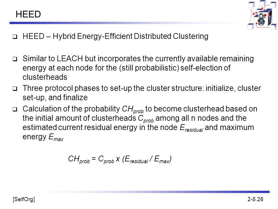 HEED HEED – Hybrid Energy-Efficient Distributed Clustering