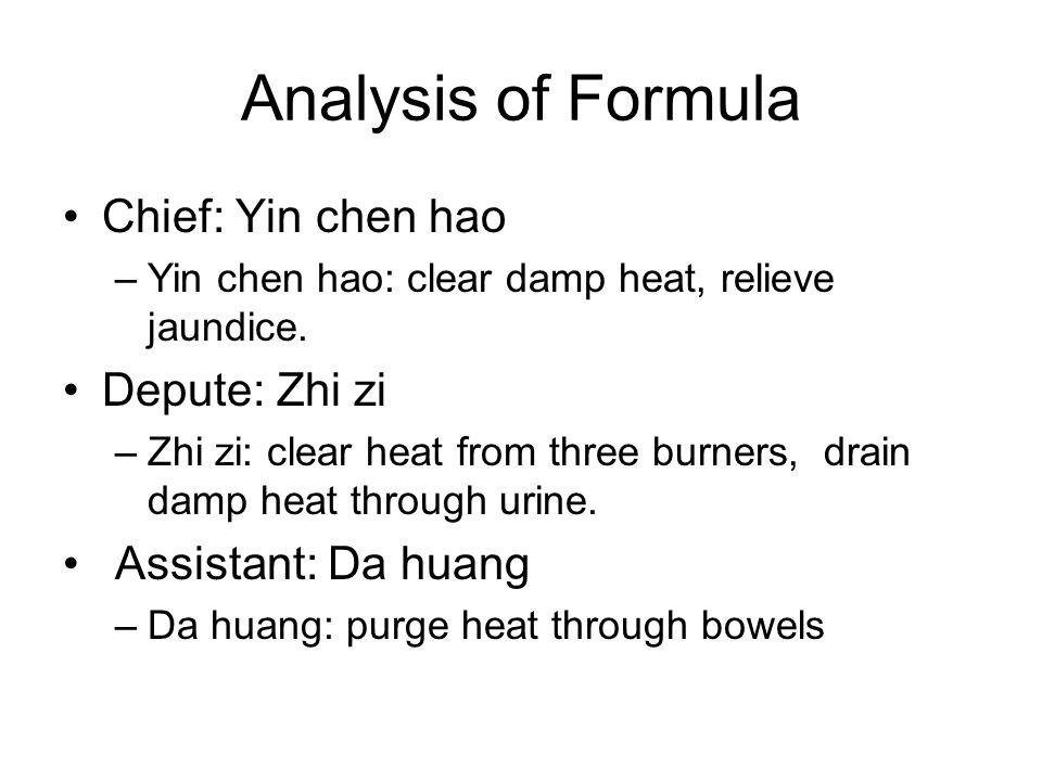 Analysis of Formula Chief: Yin chen hao Depute: Zhi zi