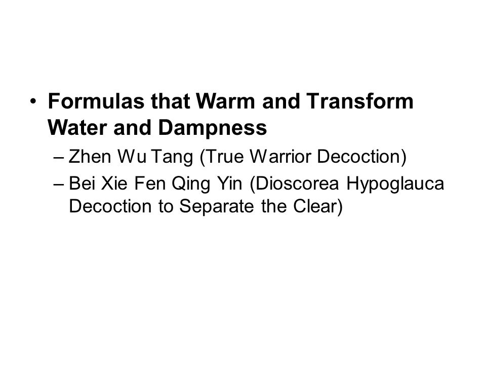 Formulas that Warm and Transform Water and Dampness