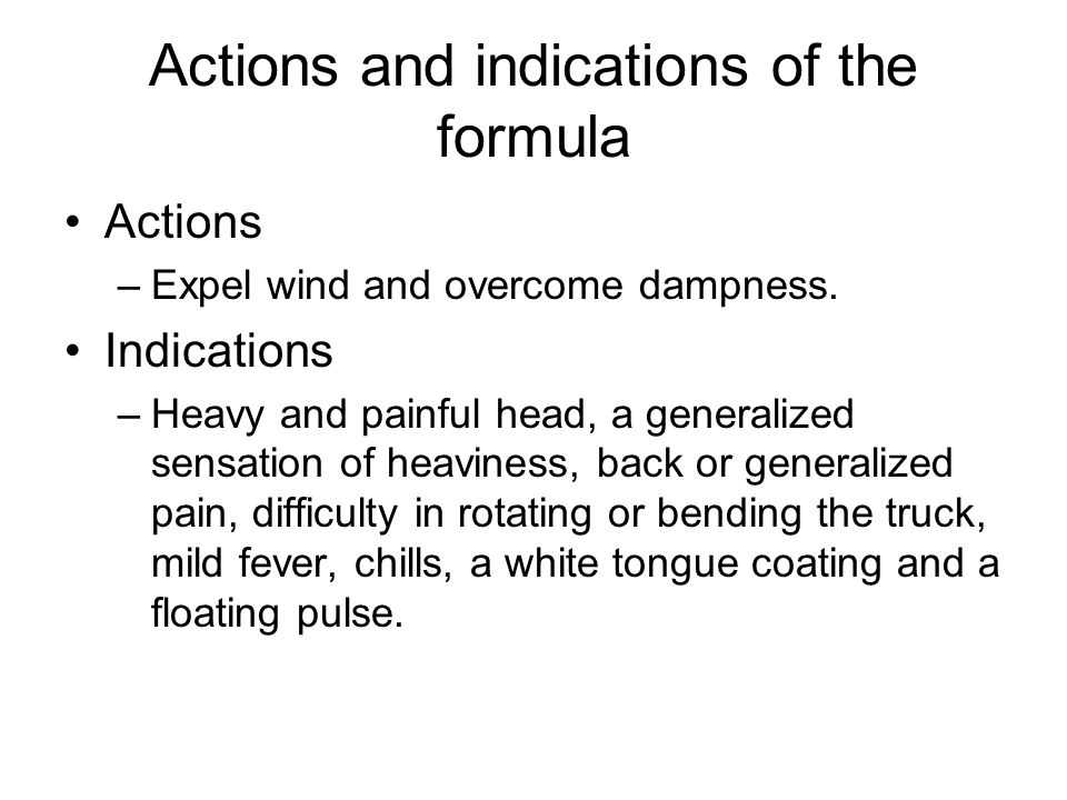 Actions and indications of the formula