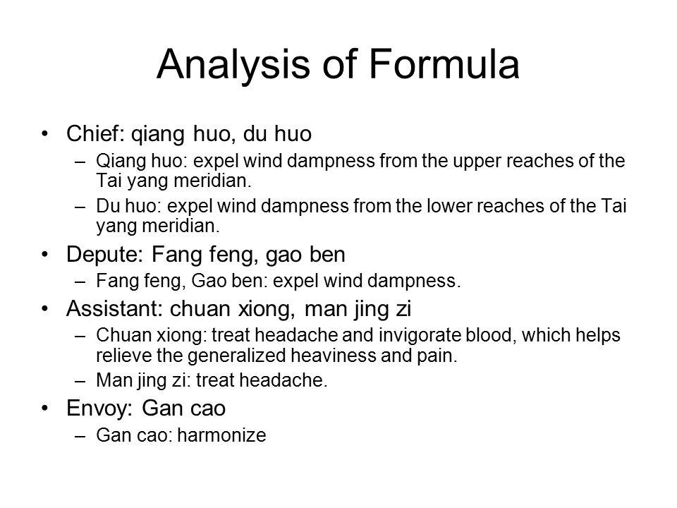 Analysis of Formula Chief: qiang huo, du huo