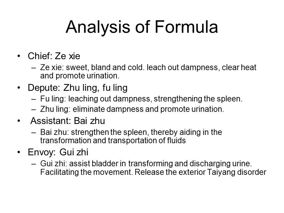 Analysis of Formula Chief: Ze xie Depute: Zhu ling, fu ling