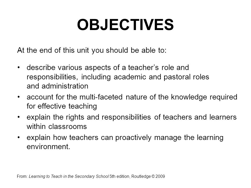 OBJECTIVES At the end of this unit you should be able to: