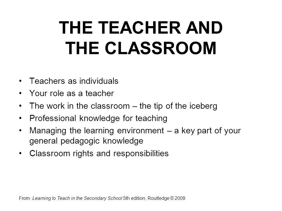 THE TEACHER AND THE CLASSROOM