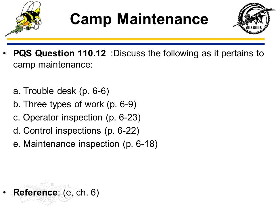 Camp Maintenance PQS Question 110.12 :Discuss the following as it pertains to camp maintenance: a. Trouble desk (p. 6-6)