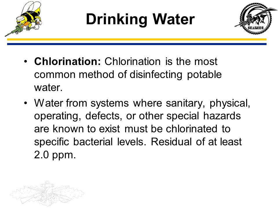 Drinking Water Chlorination: Chlorination is the most common method of disinfecting potable water.