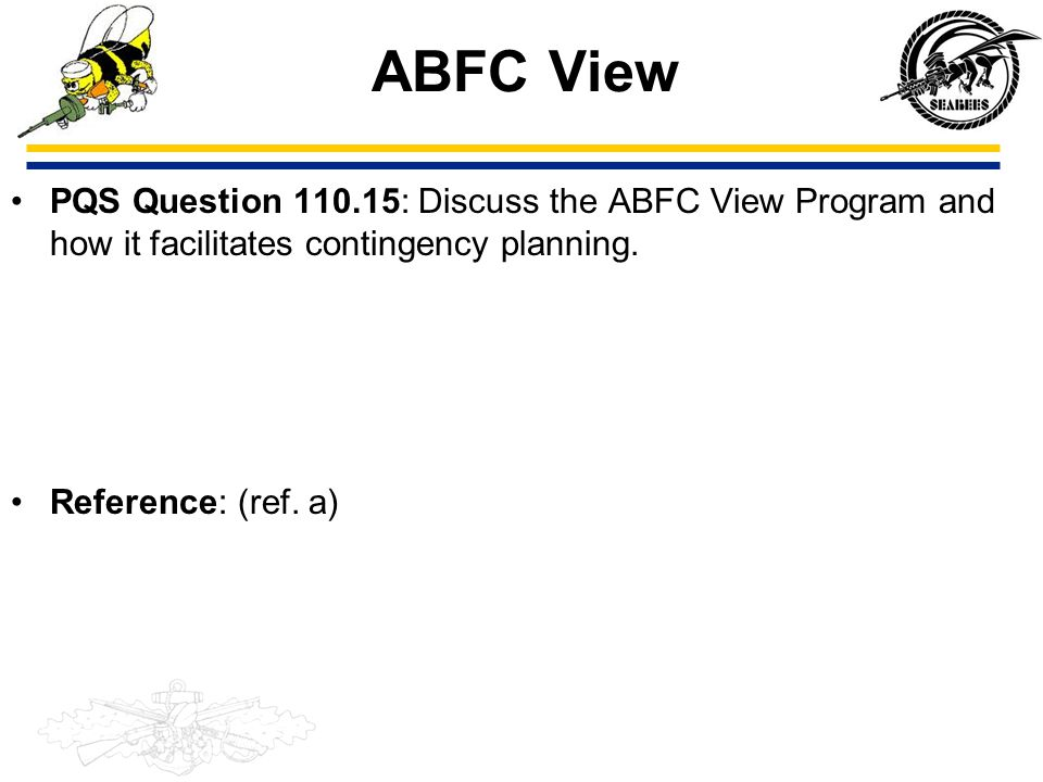 ABFC View PQS Question 110.15: Discuss the ABFC View Program and how it facilitates contingency planning.