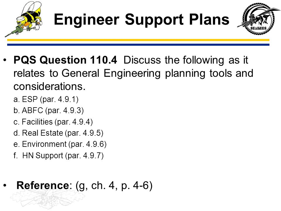 Engineer Support Plans