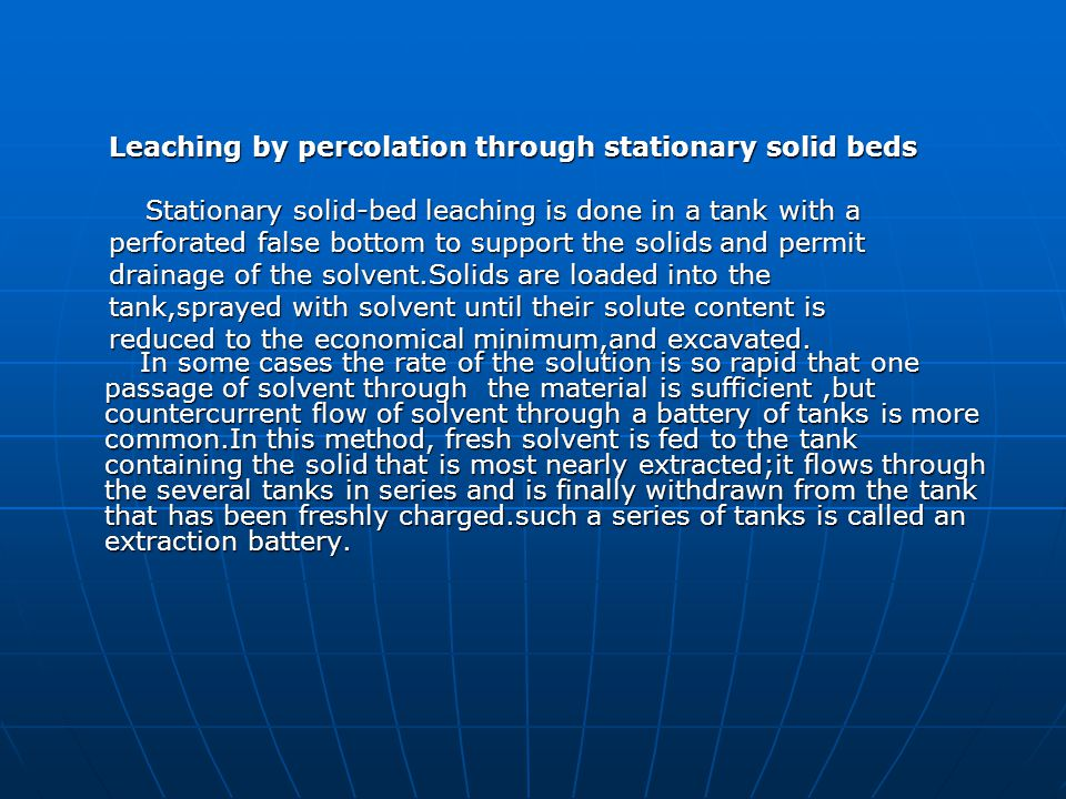 Leaching by percolation through stationary solid beds