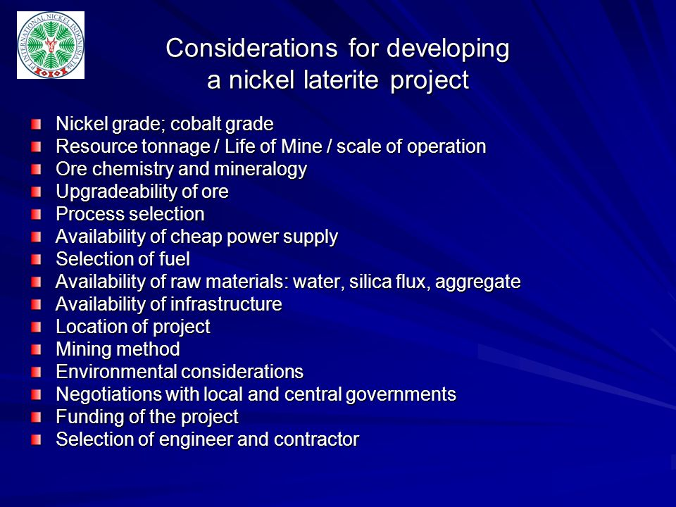 Considerations for developing a nickel laterite project