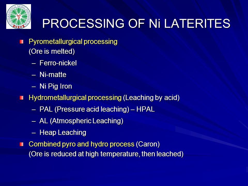 PROCESSING OF Ni LATERITES