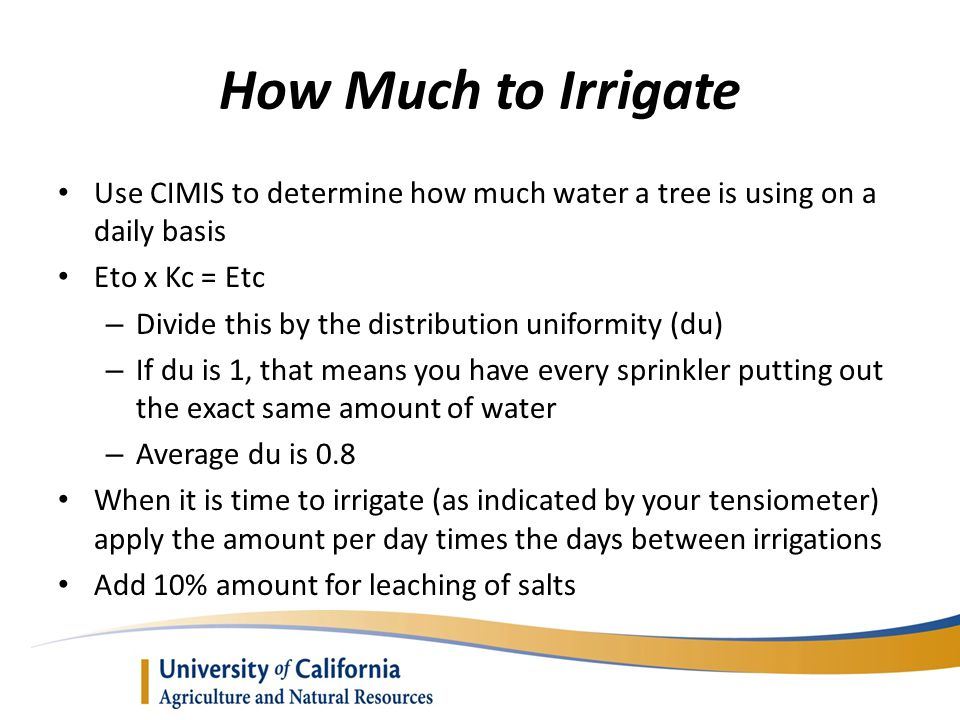 How Much to Irrigate Use CIMIS to determine how much water a tree is using on a daily basis. Eto x Kc = Etc.