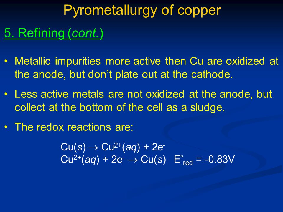 Pyrometallurgy of copper
