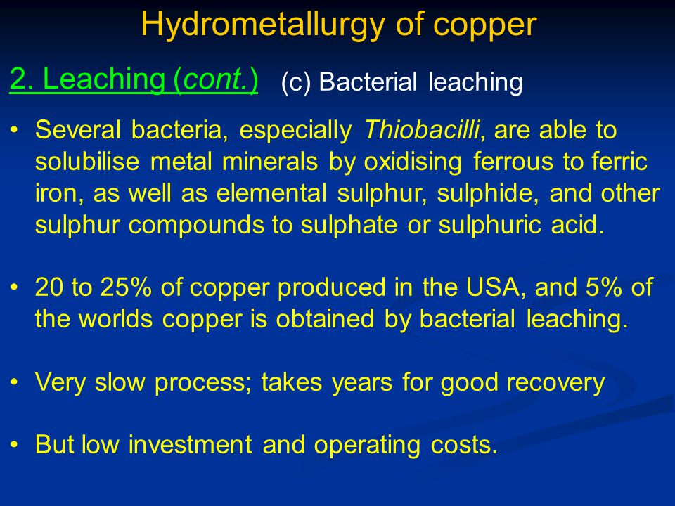 Hydrometallurgy of copper