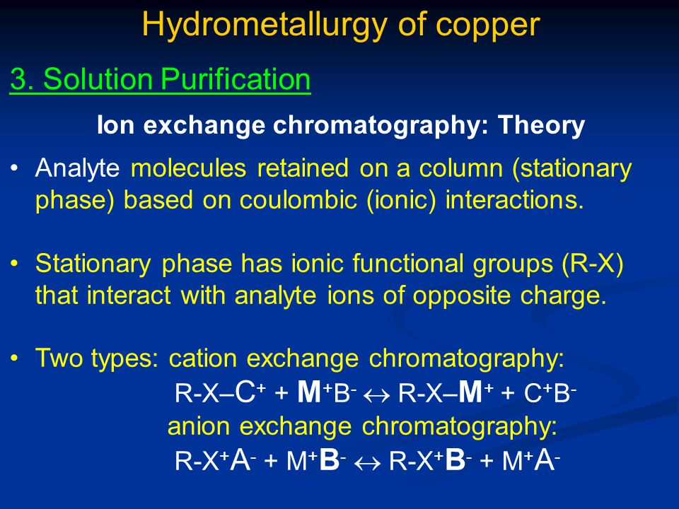 Ion exchange chromatography: Theory