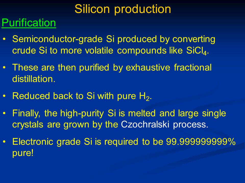 Silicon production Purification