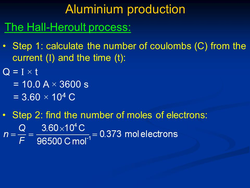 Aluminium production The Hall-Heroult process:
