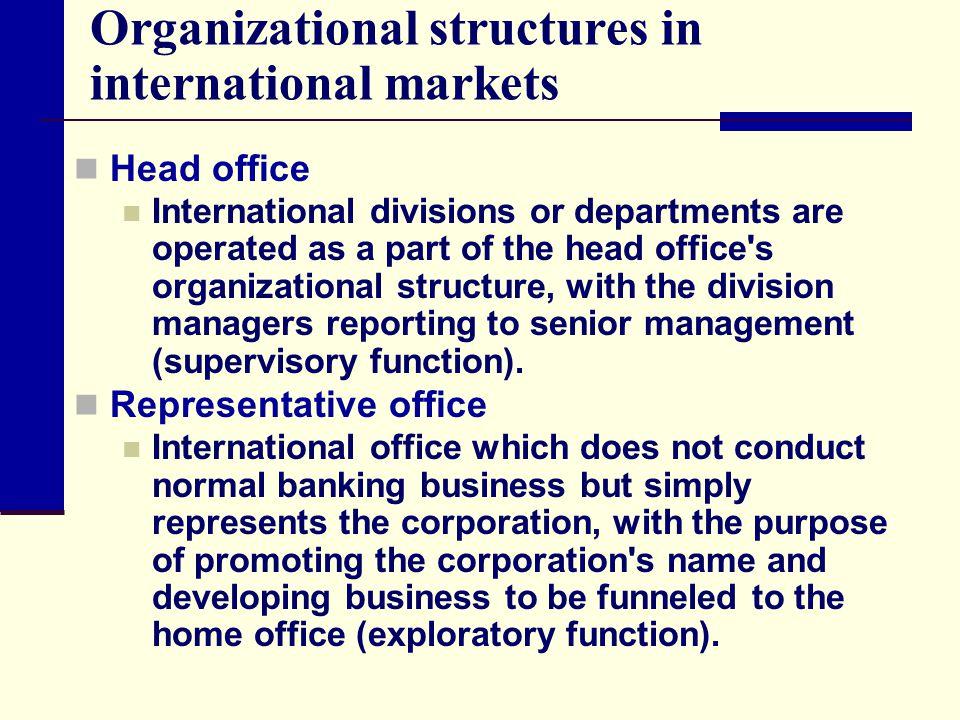 Organizational structures in international markets