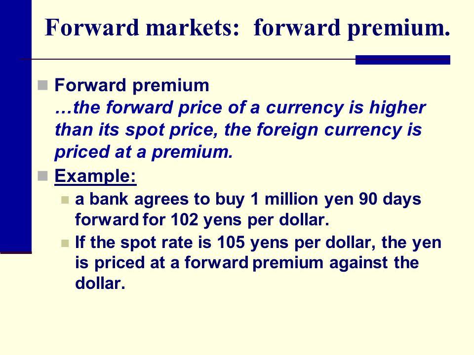 Forward markets: forward premium.