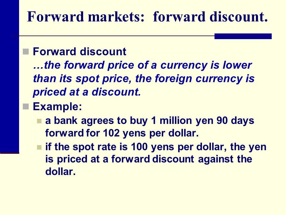 Forward markets: forward discount.