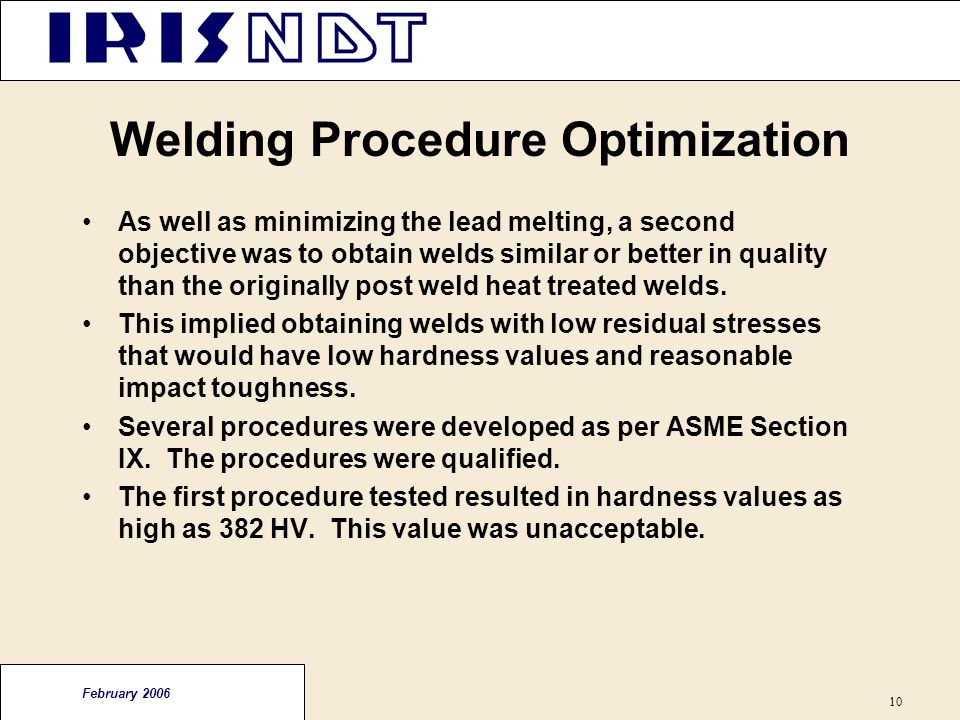 Welding Procedure Optimization